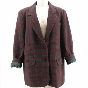 Vintage Tartan Plaid Wool Blazer Red Green SZ 18